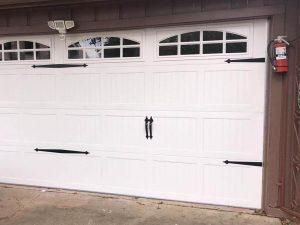 white carrige style garage door