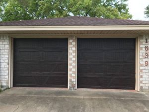 wooden two garage doors